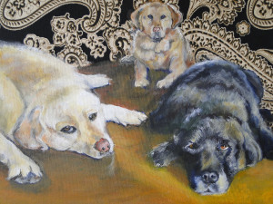 Painting of 3 dogs laying around