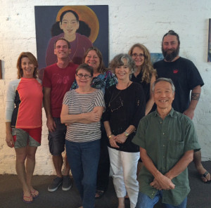 Group photo of Art of Peace taken at The Pegge Hopper Gallery in Honolulu.