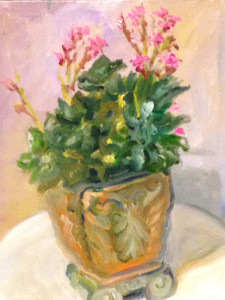 Painting of Potted Pink Kalanchoe by Nanci Hersh