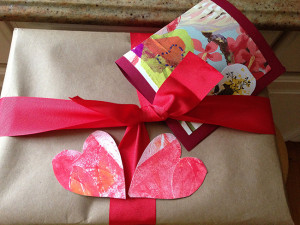 Photo of wrapped box with hearts