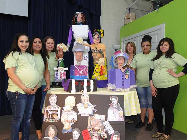 Nanci Hersh with YoungMoms-and-their mixed media sculptures