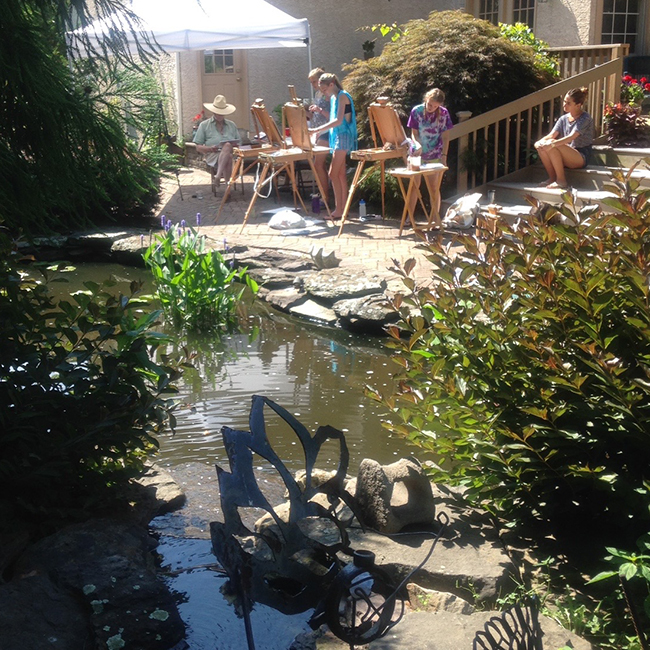 Painting by the Pond 2016, artists at work on a beautiful summer day