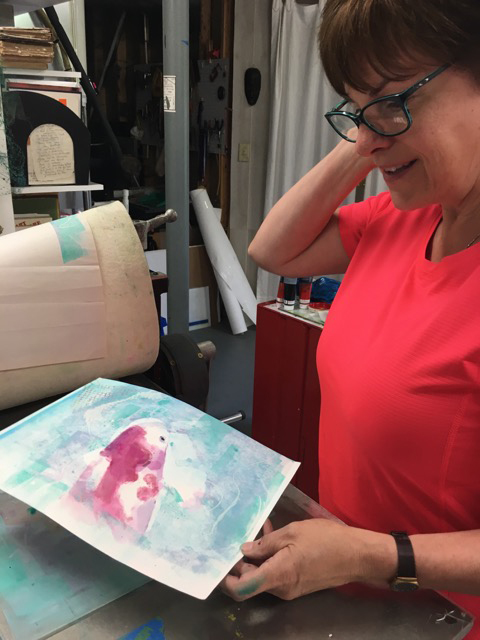 Laurel Rederfer was an enthusiastic printmaker along with Delona and Kay who were totally hooked on the process!