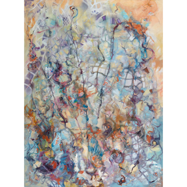 Abstract vertical mixed media painting with expressive gestures, lines and stencils and patterns of fragmented nets