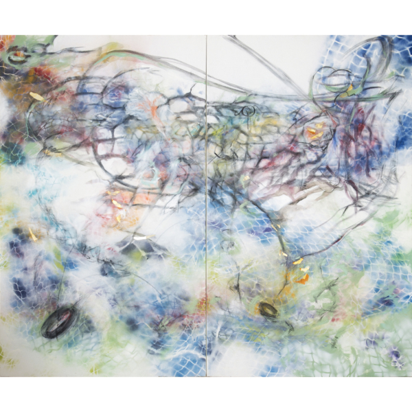 """Exhale, 2017 (diptych), Acrylic, spray paint, charcoal, collage on canvas, 60""""x72"""", $4,500.00"""