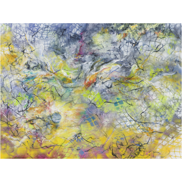 """Infusion, 2017, Acrylic, spray paint on synthetic non-woven paper,42""""x56"""", $1,500.00"""