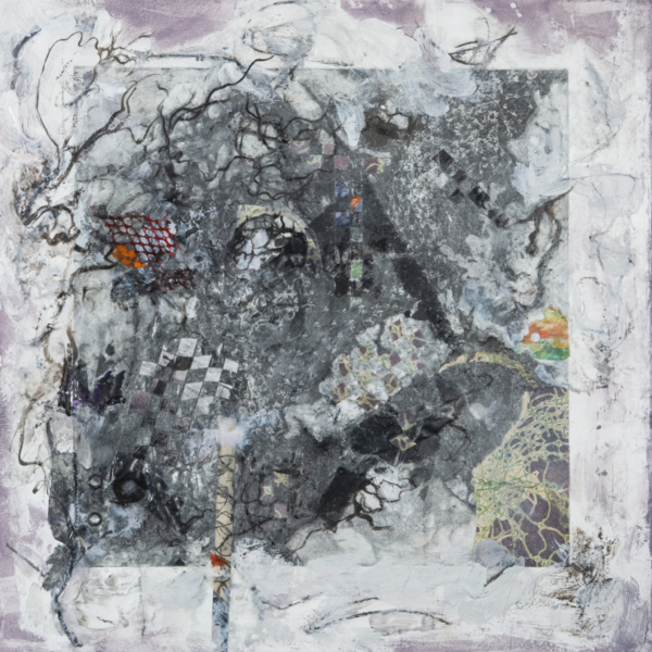 Black & white mixed media work with subtle textures and muted colors woven through the surface