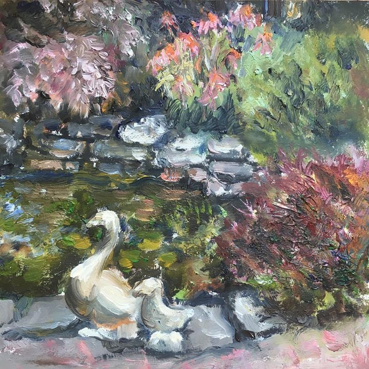 Starting to get the hang of these small oil studies. Hanging by my pond is my happy place- weeds and all! #oilpainting #dailypainting #6x6 #painting #bythepond